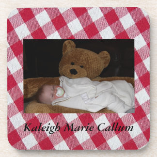 Custom Red Gingham Photo Personalized Coaster