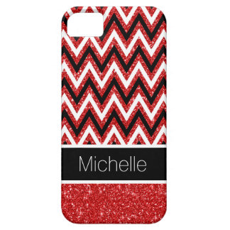 Custom Red Glitter Black Chevron iPhone 5 Case