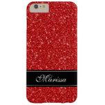 Custom Red Glitter Black Ribbon iPhone 6 Plus Case