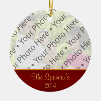 Custom Red & Gold Photo Christmas Ornament w/ Text Christmas Ornaments