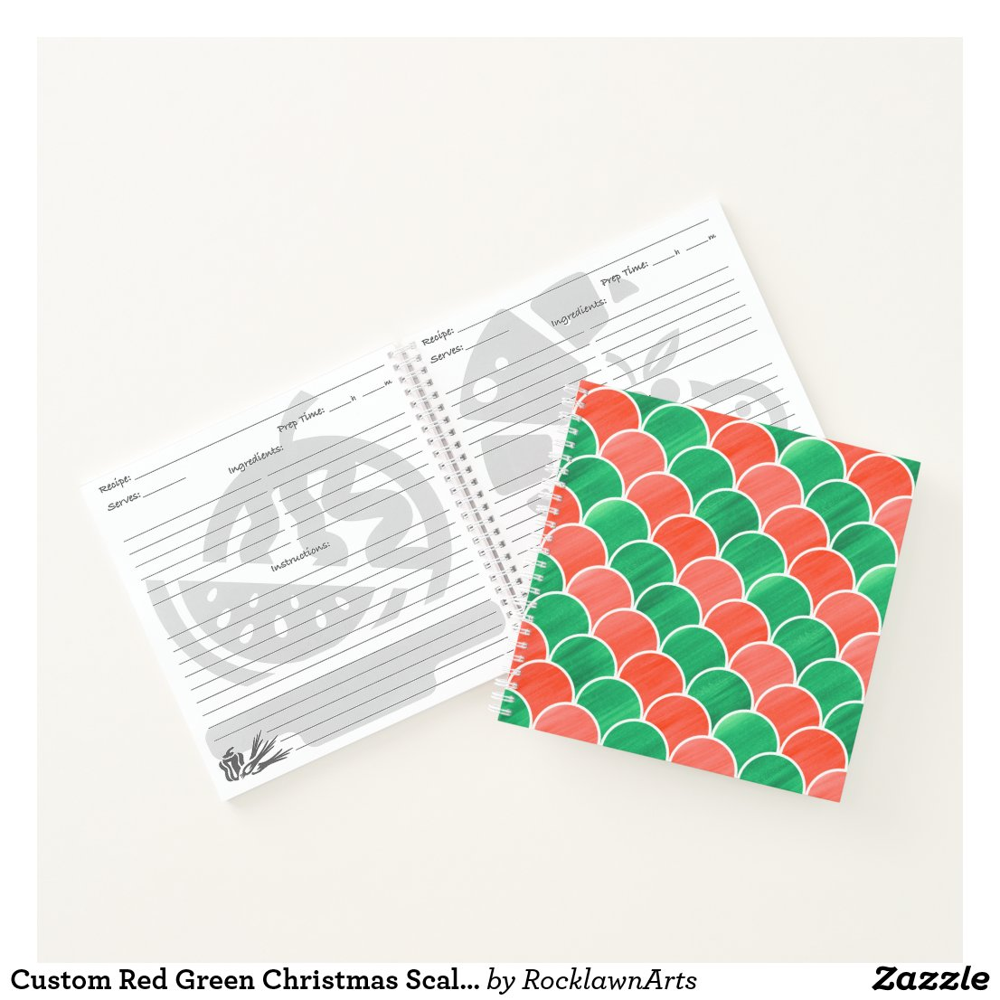 Custom Red Green Christmas Scale Pattern Notebook