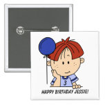 Custom Red Haired Boy Birthday Button