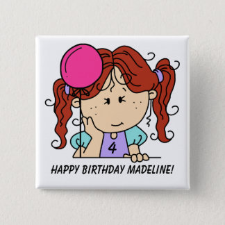Custom Red Haired Girl Birthday Button