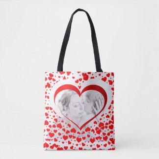 Custom Red Heart Photo Frame Tote Bag for Mom