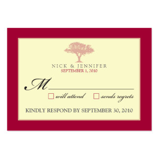 """::CUSTOM:: Red Oak Tree 3.5""""x2.5"""" RSVP Card Large Business Cards (Pack Of 100)"""