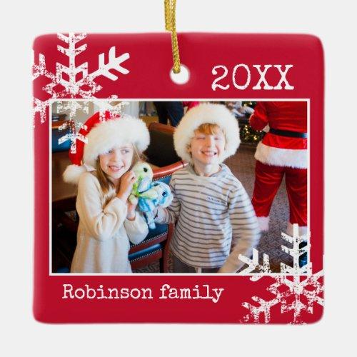Custom Red Photo Border White Snowflakes Holiday Ceramic Ornament