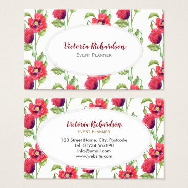 Professional Business Custom Red Poppies Floral Art White Oval Business Card