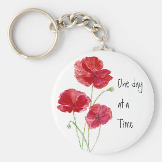 Custom Red Poppies One day at a Time Quote Keychain