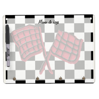 Custom red race flag dry erase board with keychain holder