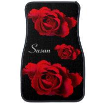 Custom Red Rosebud on Black Set of 2 Car Floor Mat