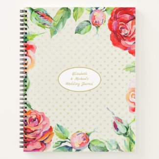 Custom Red Roses Gold Wedding Bridal Shower Chic Notebook