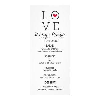 Custom Red Simple Love Wedding Menu