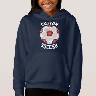Custom Red Soccer Ball Girls Hoodie Sweatshirt