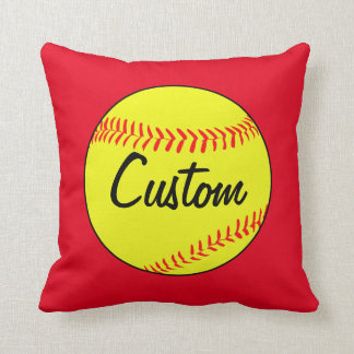 Custom Red Softball Throw Pillow