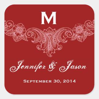 Custom Red Vintage Floral Wedding Square Sticker