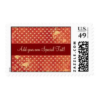 Custom Red Vintage Grunge Hearts Pattern Postage S