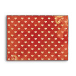 Custom Red VItnage Grunge Hearts Pattern Envelopes