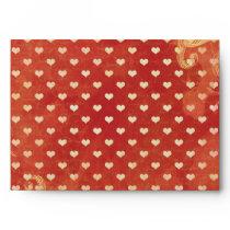 Custom Red VItnage Grunge Hearts Pattern Envelopes