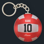 """Custom Red Volleyball Keychain<br><div class=""""desc"""">Volleyball design. Red. Custom name,  number and team. 3d rendered in Blender 3D Cycles.  Art by Jos&#233; Ricardo.</div>"""