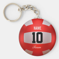Custom Red Volleyball Keychain at Zazzle