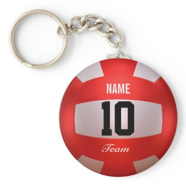 Beach Themed Custom Red Volleyball Keychain