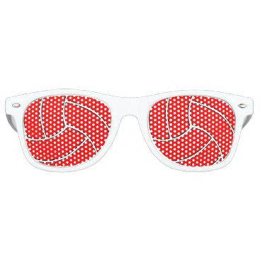 Beach Themed Custom Red Volleyball Party Sunglasses
