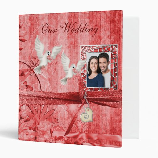 Custom Red Wedding Photo Album Binders