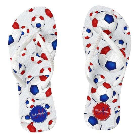 custom red white and blue soccer balls pattern flip flops