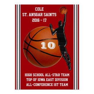 Custom Red, White, Black Boys Basketball Posters
