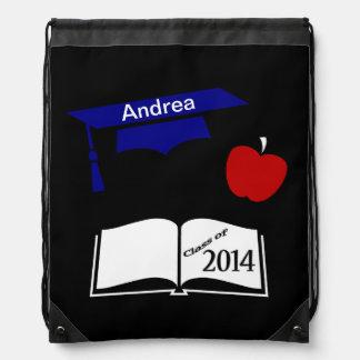 Custom Red White Blue 2014 Graduation Cap and Book Drawstring Bags