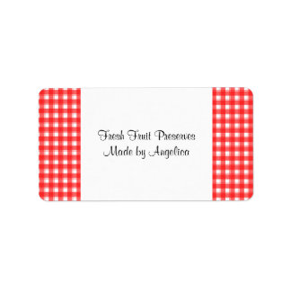 Custom Red White Country Plaid Canning Labels