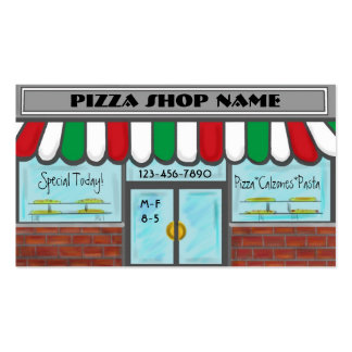 Custom red white green pizza business cards