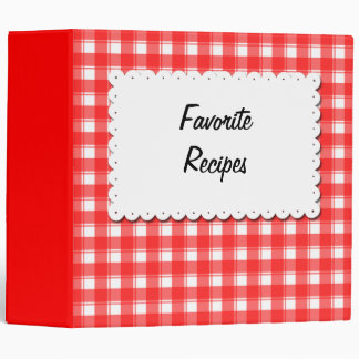 Custom Red White Plaid Recipe Binder