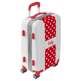 Custom red & white polkadot girls luggage suitcase