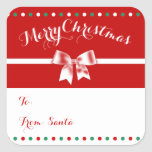 Custom Red White Square Christmas Gift Tags Bow Square Sticker