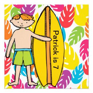 Custom Redhead Boy Surfer Birthday Invites