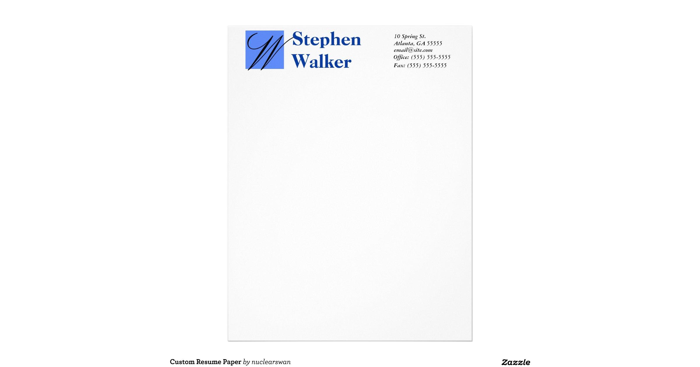 custom resume paper letterhead