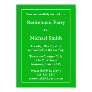 "Custom Retirement Party Invitation - Medium Green 5"" X 7"" Invitation Card"