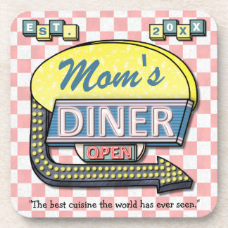 """Custom Retro 50's """"Mom's Diner"""" Sign: Mother's Day Drink Coaster"""