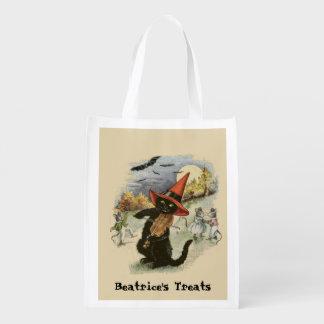 Custom Retro Black Cat & Fiddle Halloween Treat Reusable Grocery Bag