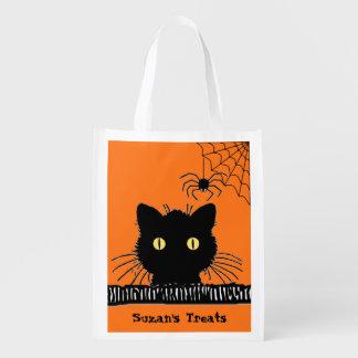 Custom Retro Black Cat & Spider Halloween Treat Grocery Bag