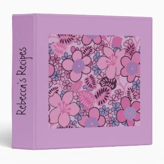 "Custom Retro Groovy 2"" Pink Floral Recipe Binder"
