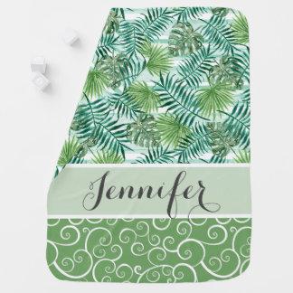 Custom Retro Hip Tropical Green Palm Leafs Pattern Baby Blanket