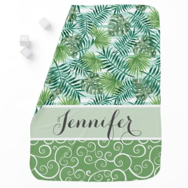 Beach Themed Custom Retro Hip Tropical Green Palm Leafs Pattern Baby Blanket