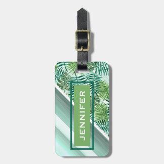 Custom Retro Hip Tropical Green Palm Leafs Pattern Bag Tag