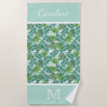 Beach Themed Custom Retro Hip Tropical Green Palm Leafs Pattern Beach Towel