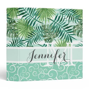 Beach Themed Custom Retro Hip Tropical Green Palm Leafs Pattern Binder