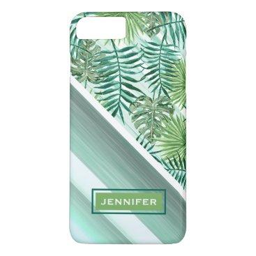 Hawaiian Themed Custom Retro Hip Tropical Green Palm Leafs Pattern iPhone 8 Plus/7 Plus Case