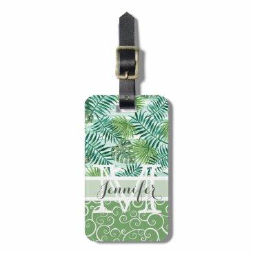 Beach Themed Custom Retro Hip Tropical Green Palm Leafs Pattern Luggage Tag