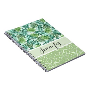 Beach Themed Custom Retro Hip Tropical Green Palm Leafs Pattern Notebook